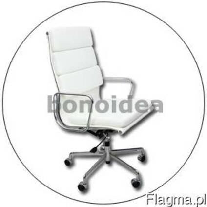 Кресло офисное, кожа белая натуральная