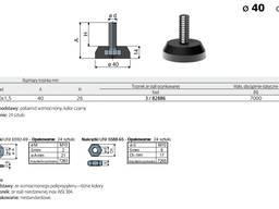 Stopka stopa meblowa tworzywowa regulacyjna podstawa fi 40mm trzpień stalowy M10x1,5 Tecom