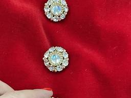 Золотистая пуговица инкрустированная радужными кристаллами, на ножке. 27 мм.